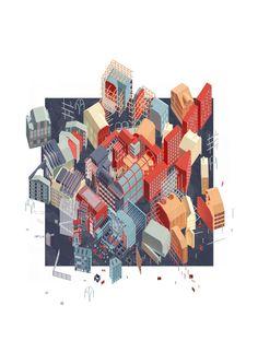 The City Of Morphologies Part 1 Project 2015 Alessandro Magliani Architectural Association London UK Architecture Graphics, Architecture Drawings, Architecture Design, Axonometric Drawing, Isometric Drawing, Architectural Association, Architectural Salvage, Architecture Presentation Board, Art Et Illustration