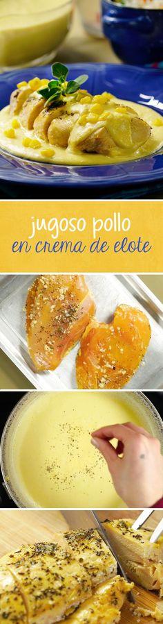 Receta de pechuga de pollo con salsa de crema de elote. Esta receta mexicana sin picante es muy económica y podrás utilizar maíz de lata o fresco para prepararlo. ¡Te encantará!