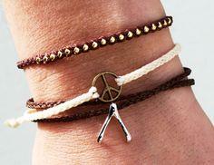 Braided friendship bracelet waxed nylon cord, peace sign