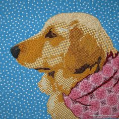 "Quilted Dog Portrait - ""Golden Boy"" by Terry Aske"