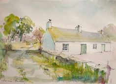 Original Water Colour and Pen painting Dumfries Cottage Signed Annabel Burton