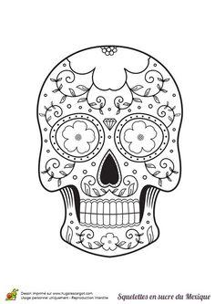 Day of the Dead dia de los muertos Sugar Skull coloring page for ...
