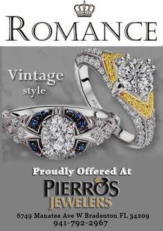 #BradentonJewelry #PierrosJewelry  Romance Website: http://www.lovemyromance.com/engagement-rings.html?