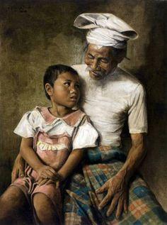 Dullah - Kakek dengan Cucu (Grootvader met kleinkind)