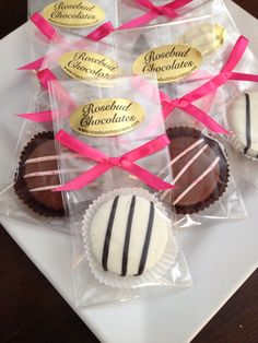 Chocolate Dipped Oreo Cookies with Pink Drizzle and Sprinkles....Zebra Stripes www.rosebudchocolates.com