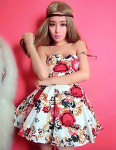 Hot Stylish 2 Colors High Waist Flowers Strapless Cotton Dress _Strapless Dress_Dresses_Wholesalekingdom.net