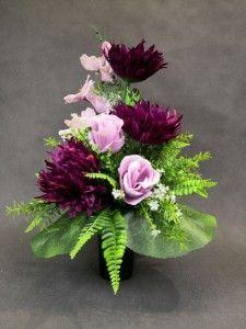 STROIKI NA GROBY - Kompozycje kwiatowe Marko604 Cemetery Flowers, Lilac Roses, Gladioli, Rose Arrangements, Ikebana, Floral Design, Wreaths, Purple, Plants