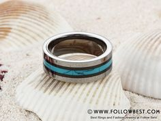 8mm Tungsten Carbide Turquoise Ceramic Inlay Ring Design Your Own Ring, Tungsten Carbide, Fashion Rings, Wedding Bands, Rings For Men, Gems, Turquoise, Ceramics, Engagement Rings