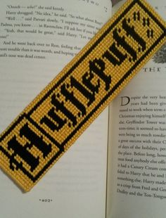 Hufflepuff Plastic Canvas Bookmark - The Puzzling Crafter crafts crafts crafts crafts Plastic Canvas Stitches, Plastic Canvas Crafts, Plastic Canvas Patterns, Plastic Art, Cross Stitching, Cross Stitch Embroidery, Cross Stitch Patterns, Stitching Patterns, Crafts For Teens To Make