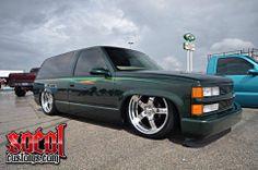 Chevy 2 door tahoe blazer bonspeed wheels green slammed airride custom