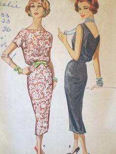 Vintage McCalls 4477 Sewing Pattern, 50s Wiggle Dress, 1950s Dress Pattern, Bust 32, Bateau Neckline Straight Skirt, Vintage Sewing Supply