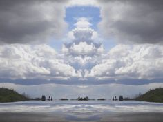 ClloudScape. reflective. Mirrored cloudy sky.