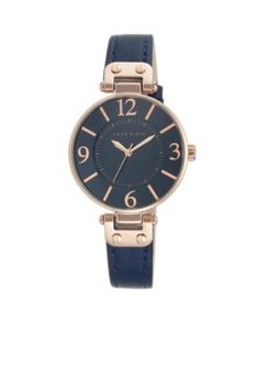 Anne Klein  Womens Rose Gold-Tone Navy Leather Watch