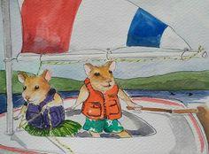 Ginger Small, hamster, lake, Long Pond, Maine, sailing, sunfish, summer, friends, illustration, kidlitart