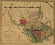 1887 BEAUTIFULLY DETAILED WALL MAP WASHINGTON DC