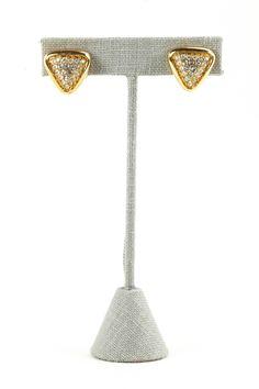 80's__S.A.L.__Rhinestone Triangle Pierced Earrings
