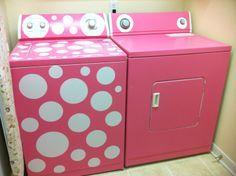 Pink-Polka Dot washing machine