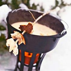 I want a fondue party outside in the snow