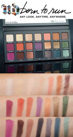Full Urban Decay Born To Run Collection swatched on light to medium skin. NC 37 skin. Urban Decay Born To Run Eyeshadow Palette swatched, Born To Run Lipsticks Marfa, 66, and Ready? swatched. Urban Decay 24/7 Glide-On Eyeliners swatched.