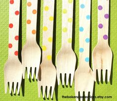BOYS Rainbow Dot Wooden Forks  - Eco-friendly Dessert or Party Forks, Green Cutlery (set of 36)