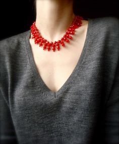 Red Retro Beaded Necklace by SweetHarrietCo on Etsy, $25.00