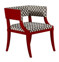 Red painted chair with black and white checkered fabric- find these and others at Penny Waller Interiors.  Councill - Anton Chair.   Showroom: 200 Steele, 3rd floor   #hpmkt
