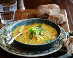 Rachel Allen's red lentil soup is a hearty mix of onion, garlic and red lentils flavoured with cumin, coriander and lemon