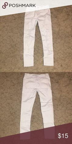 White Distressed Jeans Worn once new condition white jeans! Willing to take offers. Papaya Jeans Ankle & Cropped