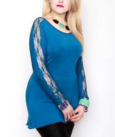 Another great find on #zulily! Teal Lace-Panel Scalloped Top - Plus #zulilyfinds