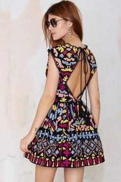 Nasty Gal Dream Weaver Hand-Embroidered Dress
