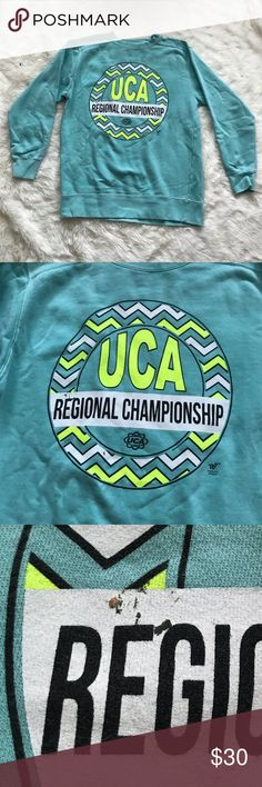 ✺UCA cheer sweatshirt great condition but does have some small flaws as shown, otherwise in great condition! Sweaters Crew & Scoop Necks