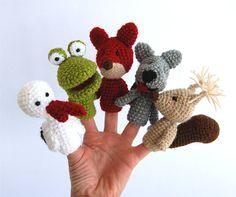 woodland finger puppet set crocheted stork frog fox by crochAndi, $32.00
