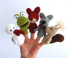 woodland finger puppet set crocheted stork frog fox by crochAndi, $32.00