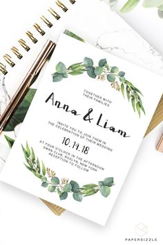Give the perfect first statement of your big day to your friends and family with this greenery Rich Eucalyptus wedding invitation. Fits any outdoor wedding! Budget Wedding Invitations, Diy Wedding On A Budget, Wedding Invitation Templates, Wedding Stationery, Invitation Ideas, Invites, Wedding Ideas, Handmade Wedding Decorations, Wedding Crafts