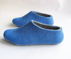 Photo of Felted slippers Titanic Aqua ocean Blue Gray. Handmade Soft Warm House shoes. Winter Fashion. Custom made for Her Womens sizes