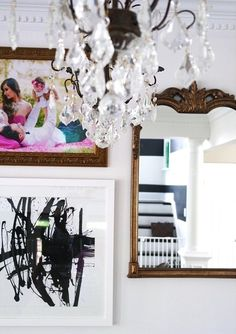 Loving this crisp + chic gallery wall styled with our Ink print via @decor_envy!