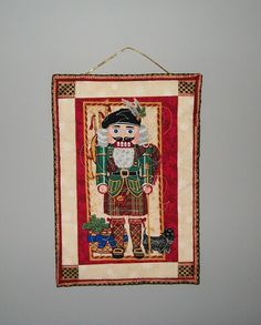 Nutcracker door hanging - Scottish terrier decor - red green gold quilted wall hanging - small Scotland Christmas hanger - hostess gift by…