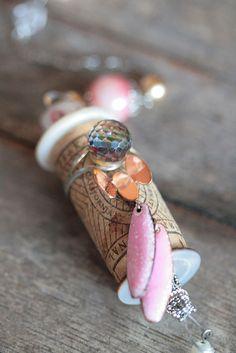 Cork Bella Vintage Pink Beauty by MMVintageSweets on Etsy Vintage Sweets, Vintage Pink, Wine Cork Jewelry, Cinderella Pumpkin, Cork Ornaments, Wine Craft, Cork Art, Cork Crafts, White Beads