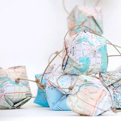 DIY Paper Origami Globe Garland by salt-labs via Poppytalk Do It Yourself Inspiration, Diy Inspiration, Map Crafts, Arts And Crafts, Diy Girlande, Party Fiesta, Map Globe, Thinking Day, Old Maps