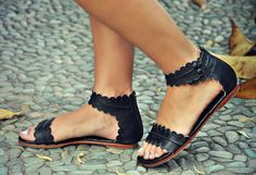 MIDSUMMER. Black leather sandals  / women shoes / leather shoes / flat shoes / barefoot. Sizes 35-43. Available in different leather colors. by BaliELF on Etsy https://www.etsy.com/listing/202741447/midsummer-black-leather-sandals-women