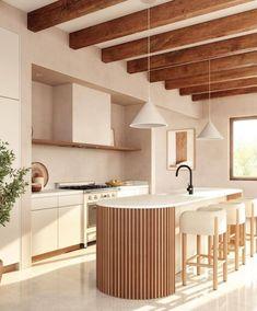 Curved Kitchen Island, Zen Kitchen, Wooden Kitchen, Kitchen Decor, Kitchen Design, Kitchen Interior, Home Design, Interior Design, Zen Style