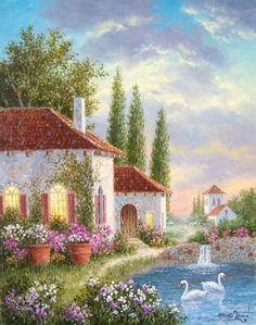 Swans in Tuscany Dennis Lewan