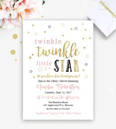 Twinkle Twinkle Little StarEditable Baby Shower or Birthday Invitation     PDF   Instant Download Printable