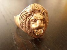 Vintage 14k Gold Mens Lion Ring with Old Mine Cut by RiordanStudio, $950.00