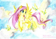 Fluttershy color pencil drawing.