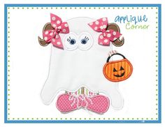 134 Trick or Treat Halloween Ghost Girl applique digital design for embroidery machine by Applique Corner