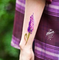 Watercolor lavender flower tattoo by Magdalena