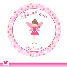 Printable Personalized Cute Pink Fairy Thank You Tag - Pink Dots Birthday Baby Shower Girl Pixie