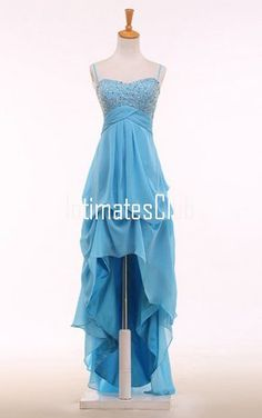 A Line Sweetheart Chiffon Asymmetrical Beading Blue High Low Prom Dress