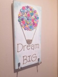 Dream Big Wood Sign with Button Art Hot Air Balloon by Gr8byz.